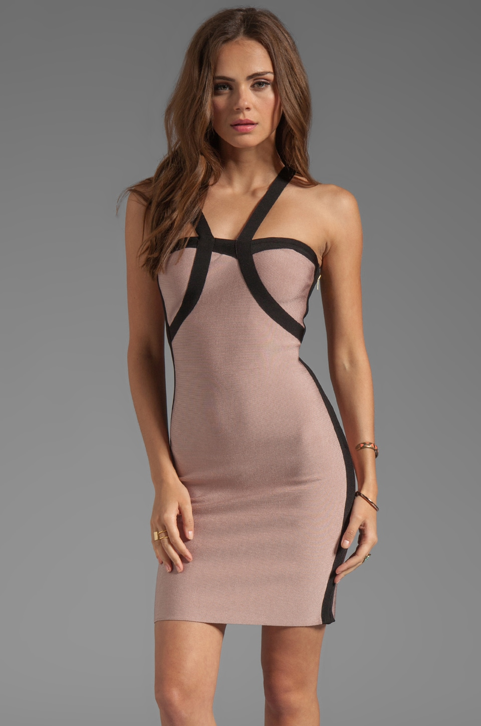 Stretta Kesha Asymmetrical Dress in Nude & Black | REVOLVE