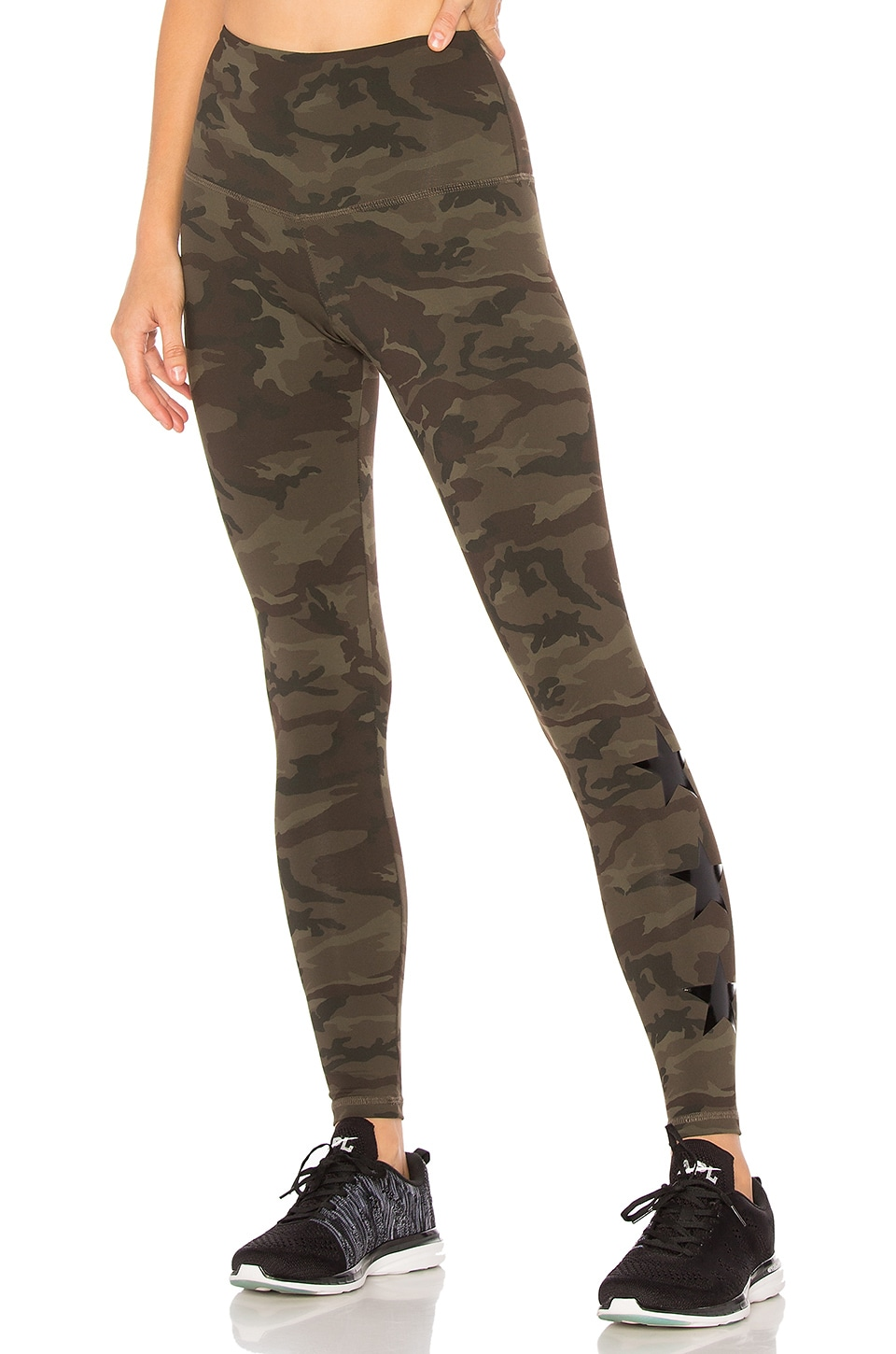 28938b34b303f STRUT-THIS Stars Camo Legging in Green Camo & Shiny Black Stars ...