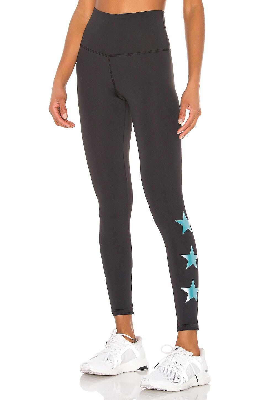 STRUT-THIS Star Ankle Legging in Black & Teal