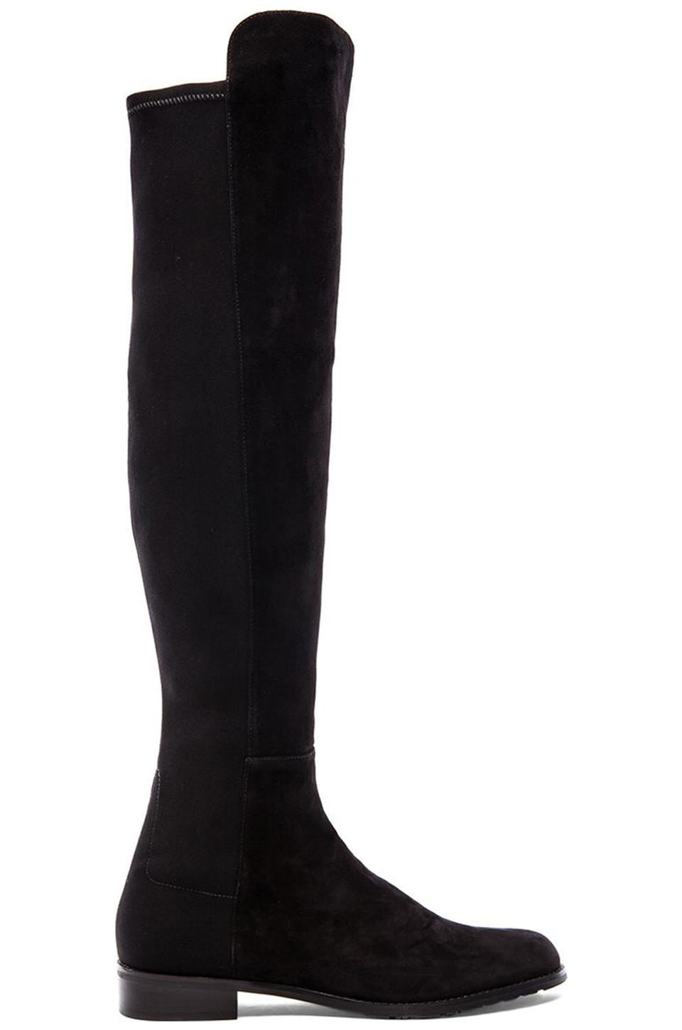 Stuart Weitzman 5050 Stretch Boot in Black Suede