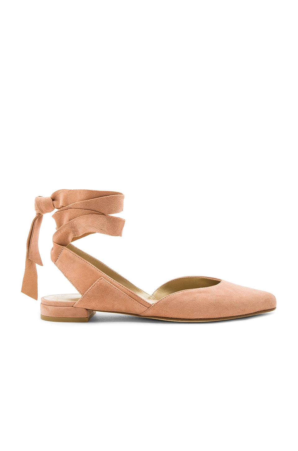 Stuart Weitzman Supersonic Flat in Naked Suede