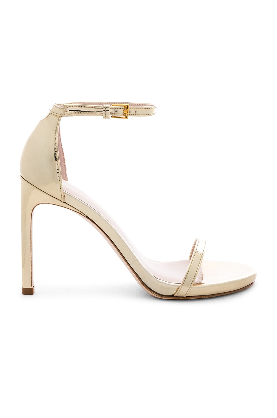 Stuart Weitzman Nudist Heel in Pale Gold Specchio