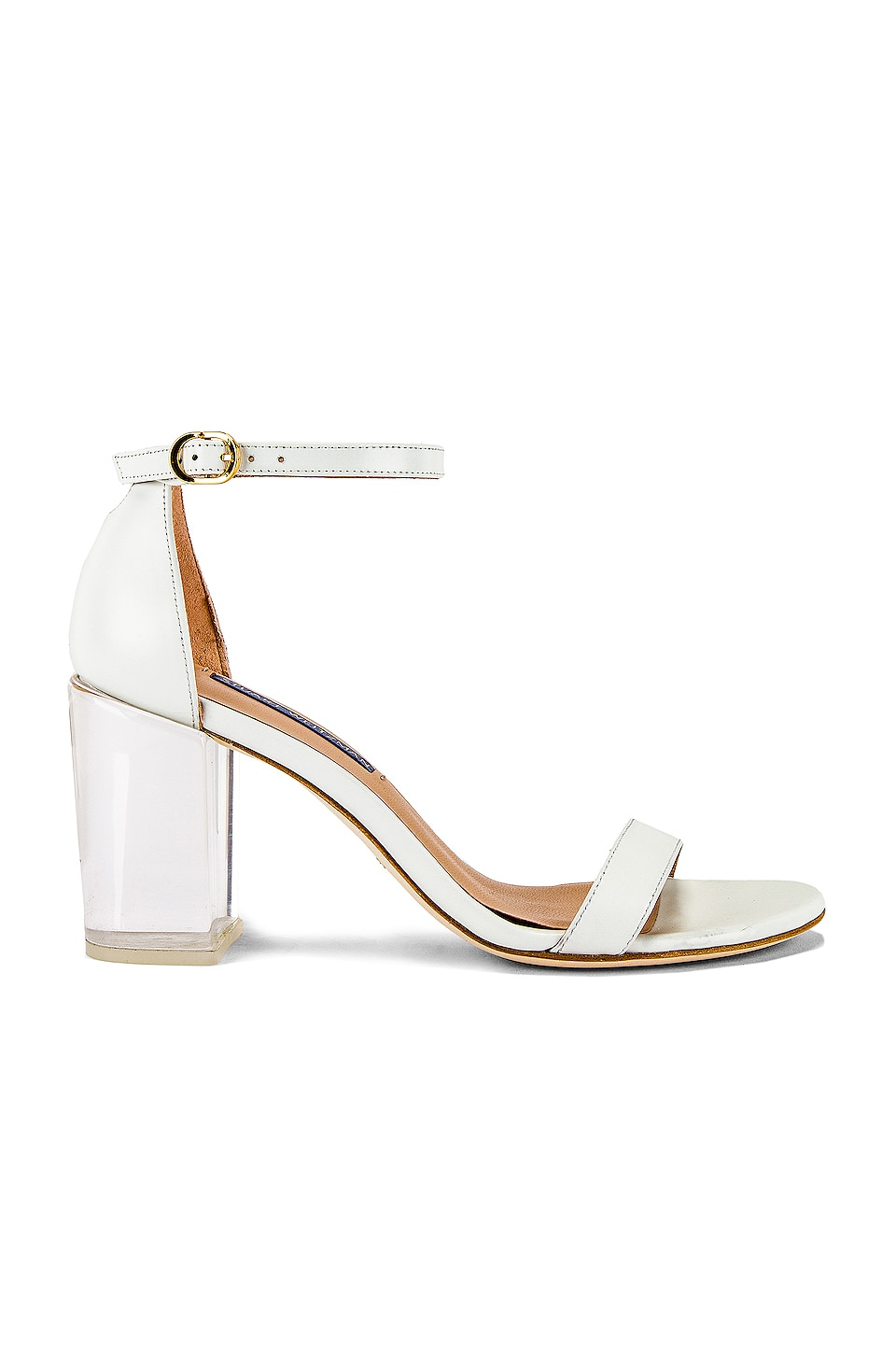 Stuart Weitzman Nearly Nude Lucite Sandal in White