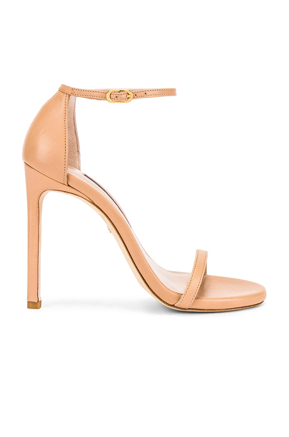 Stuart Weitzman Nudist Heel in Adobe Leather