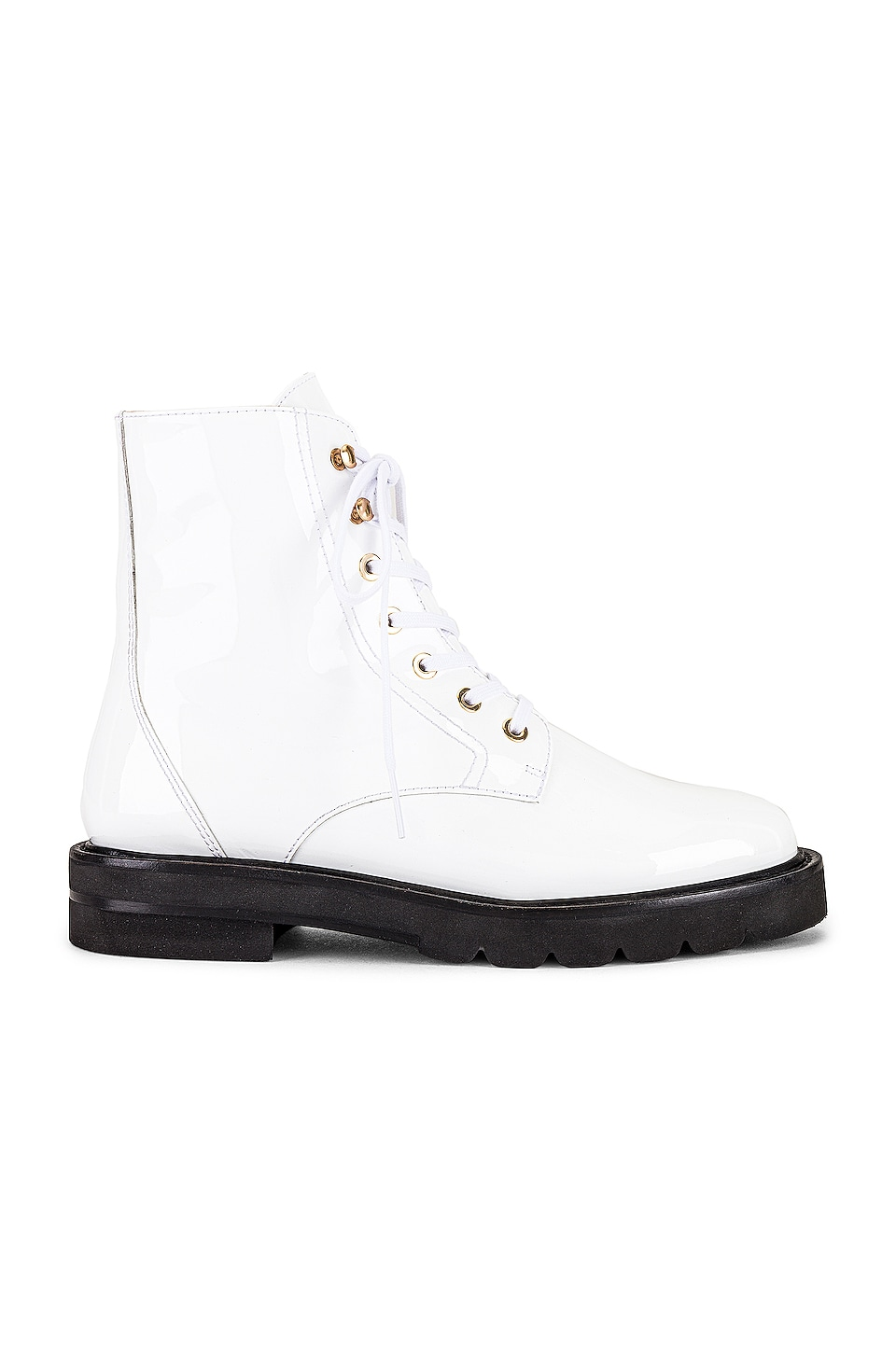 Stuart Weitzman Mila Lace-up Combat Booties In White