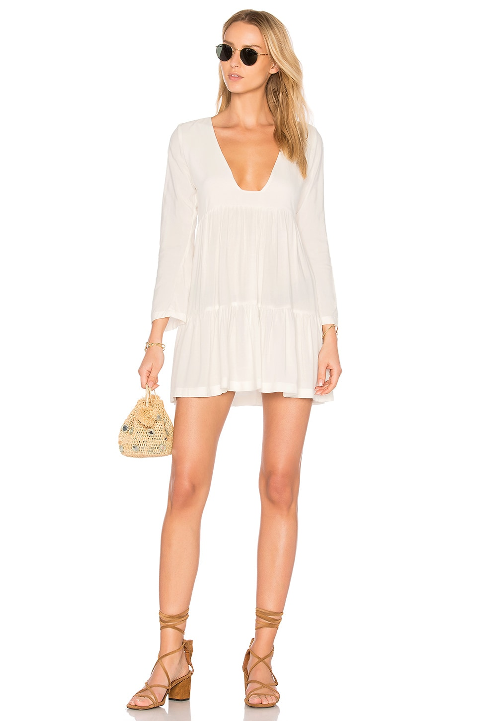 Stillwater Tiered Square Neck Mini Dress in White
