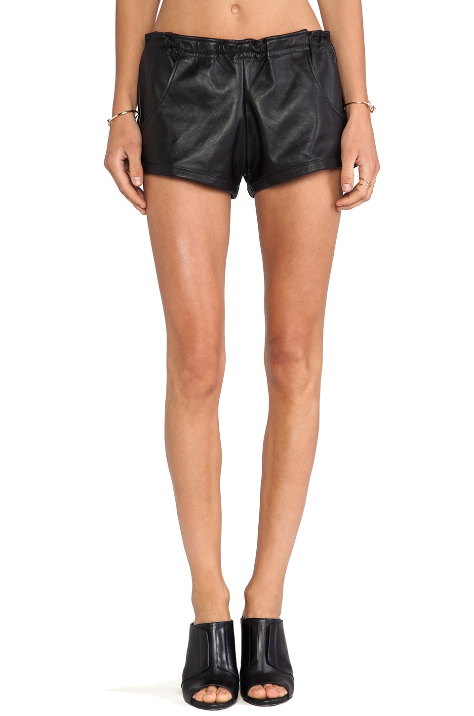 Stillwater The Leather Shorts in Black