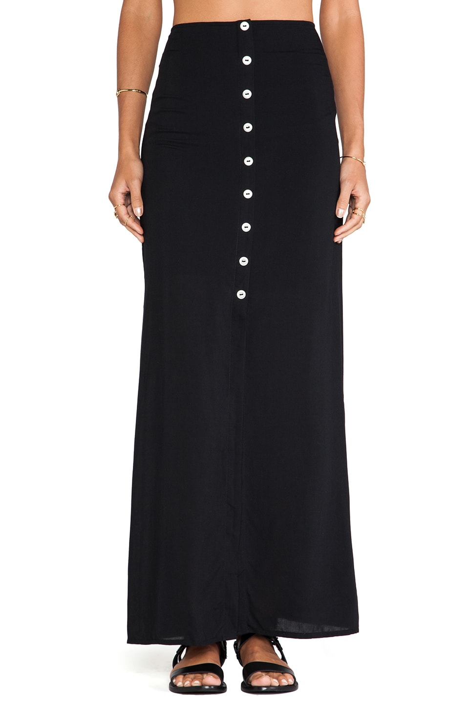 Stillwater The Button Front Maxi Skirt in Black