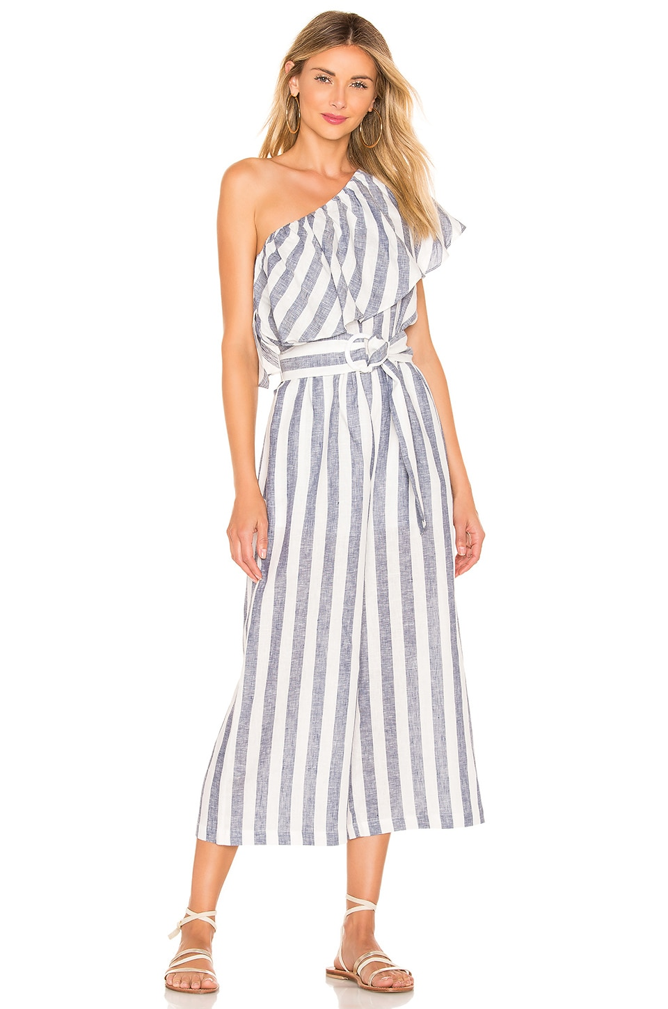 Suboo Newport One Shoulder Cropped Jumpsuit en Navy Stripe