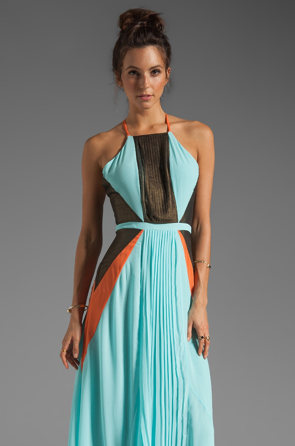 Suboo Pleated Maxi Dress in Nostalgic Light