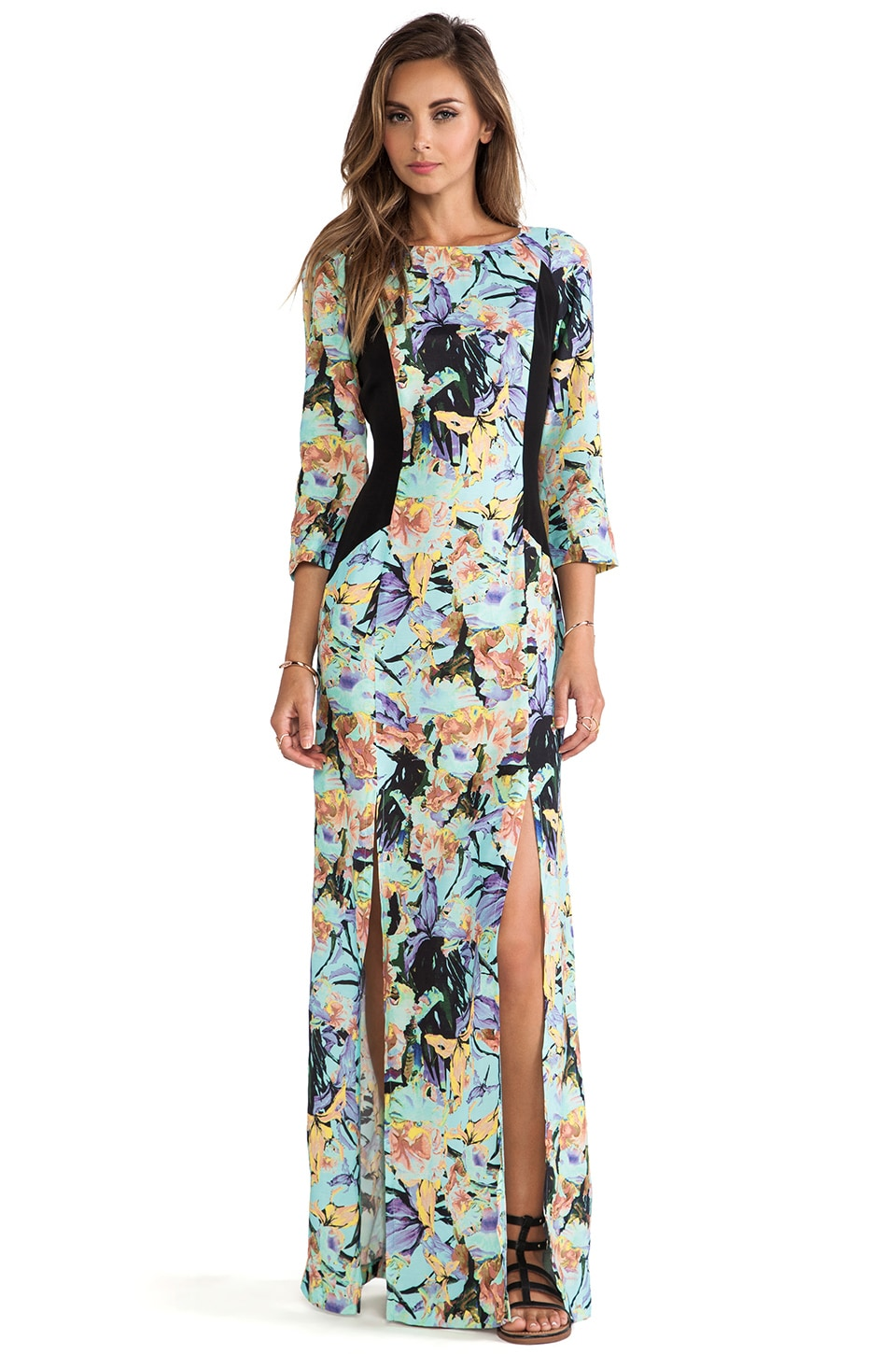 SUBOO Delphinium Maxi Dress in Black