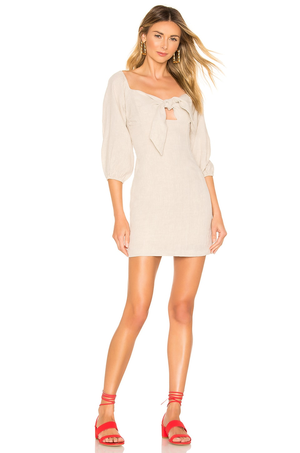 Suboo Wanderer Tie Front Mini Dress in Natural