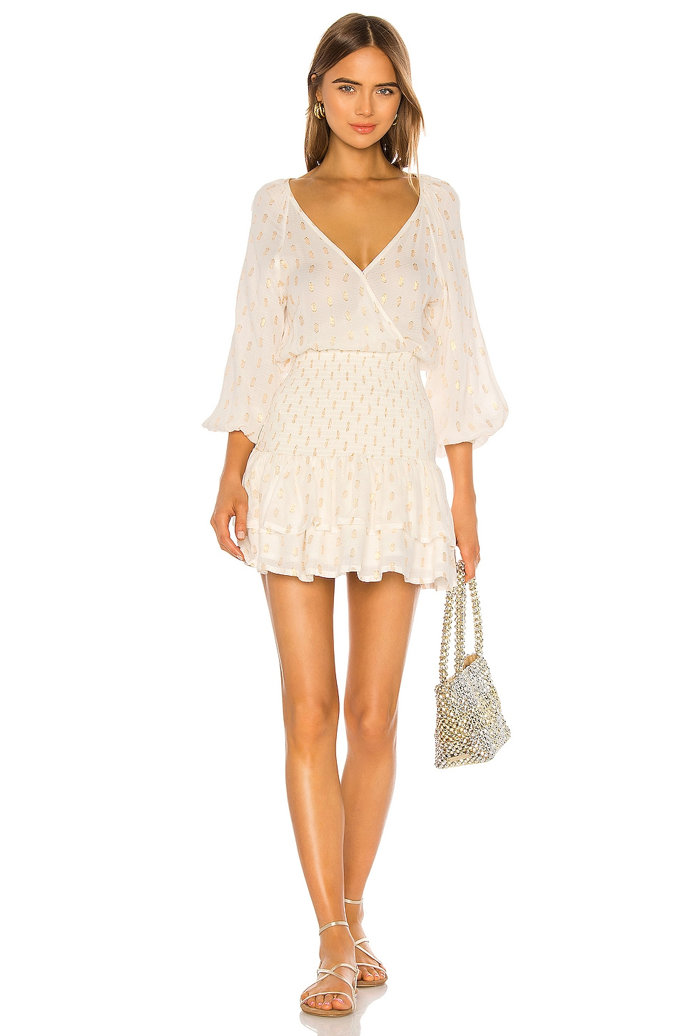 Suboo Mae Shirred Mini Dress in Ivory & Gold