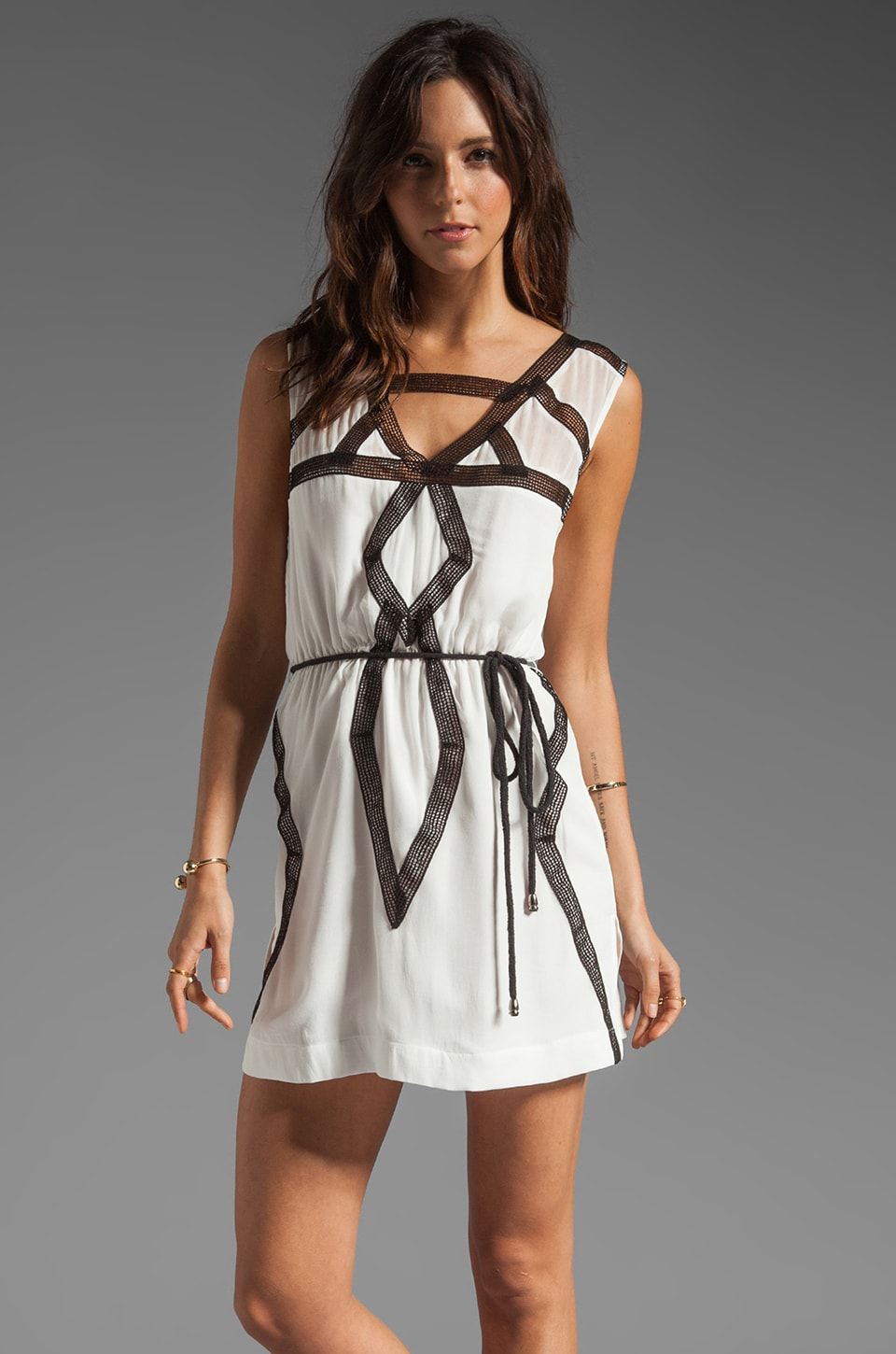 Suboo Mini Tank Dress in White Pagoda