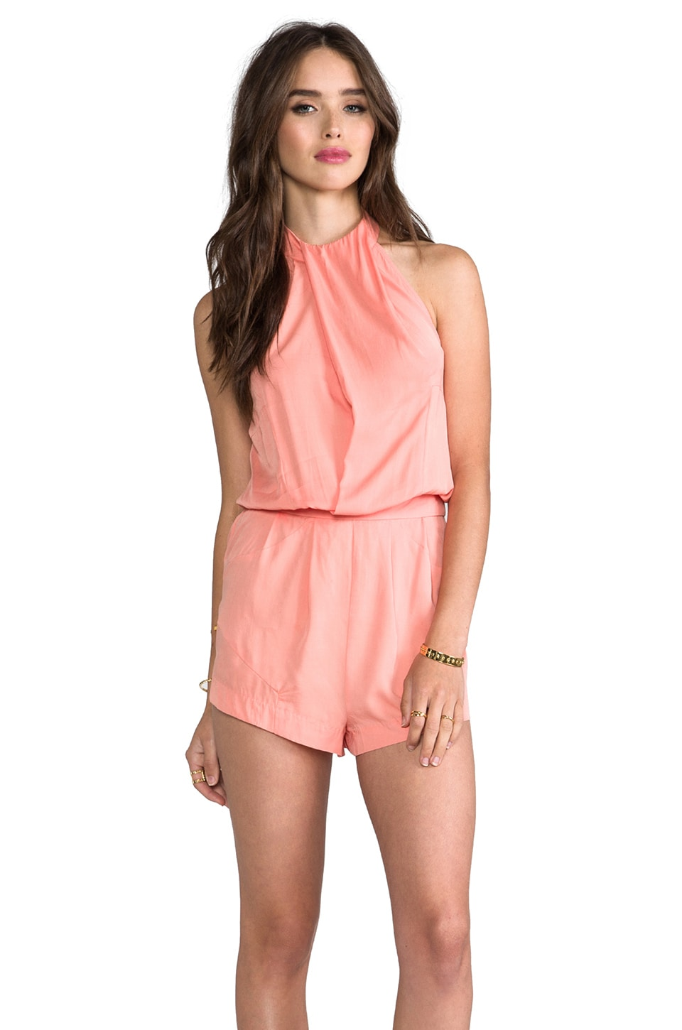 SUBOO Halter Playsuit in Peach