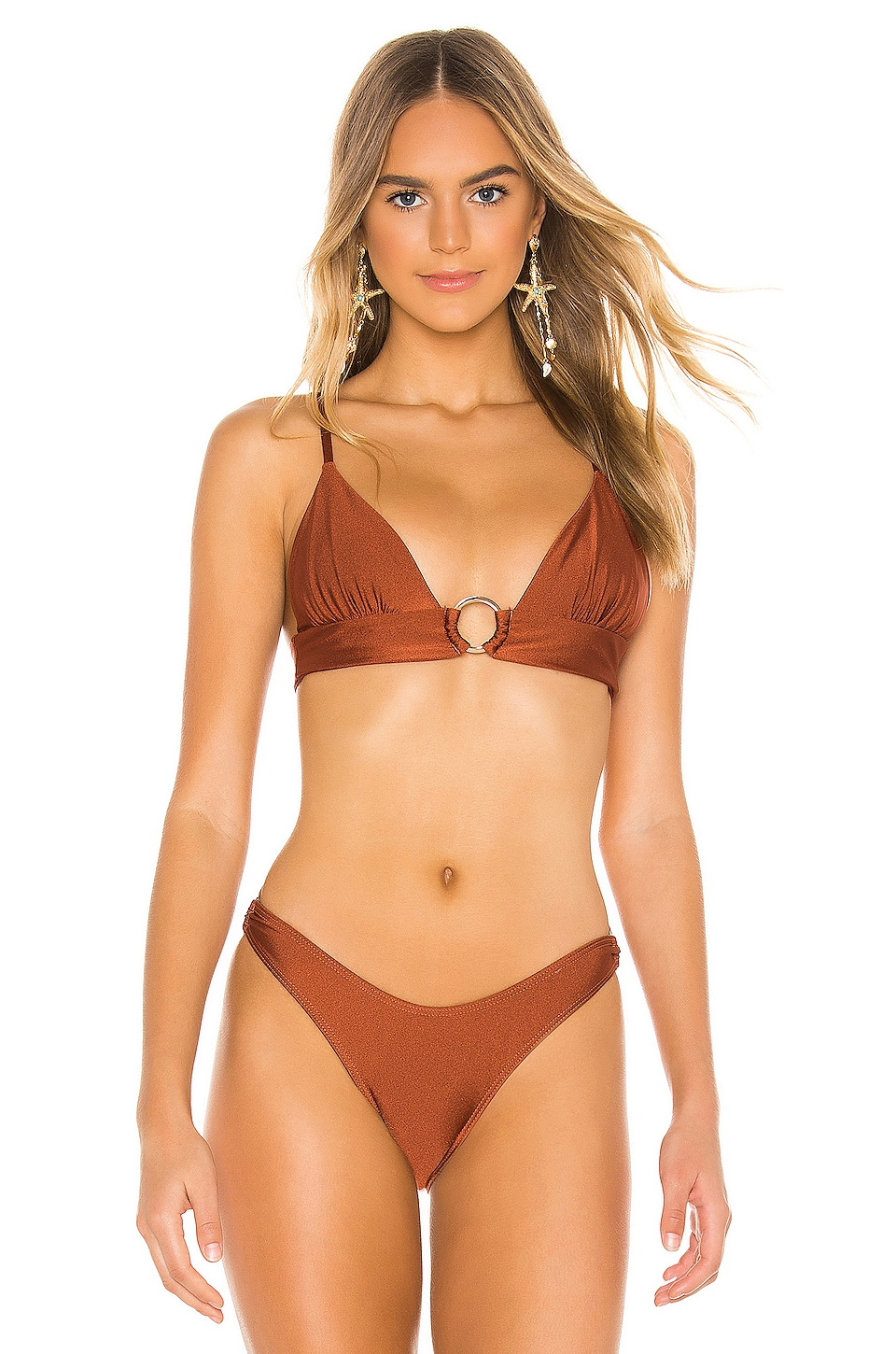 Suboo Gaby Ring Front Triangle Bikini Top in Copper