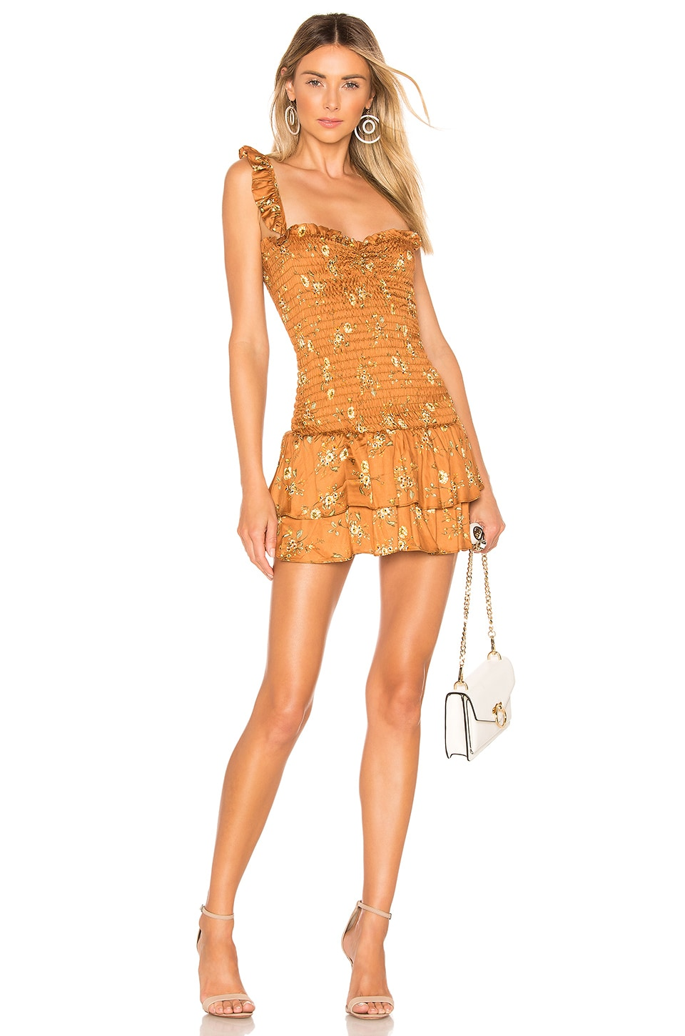 Sun Becomes Her Bodhi Mini Dress in Copper Vintage Floral
