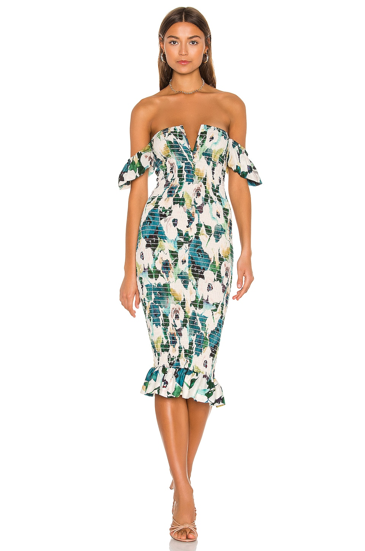 Sun Becomes Her Bardot Midi Dress in Waterlily