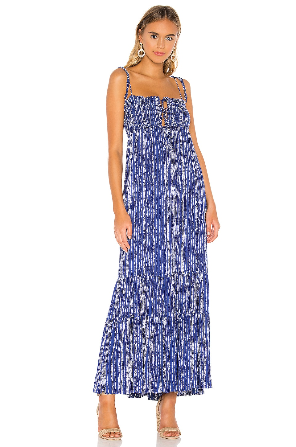 Sun Becomes Her Sayulita Maxi Dress in Azul Stripe