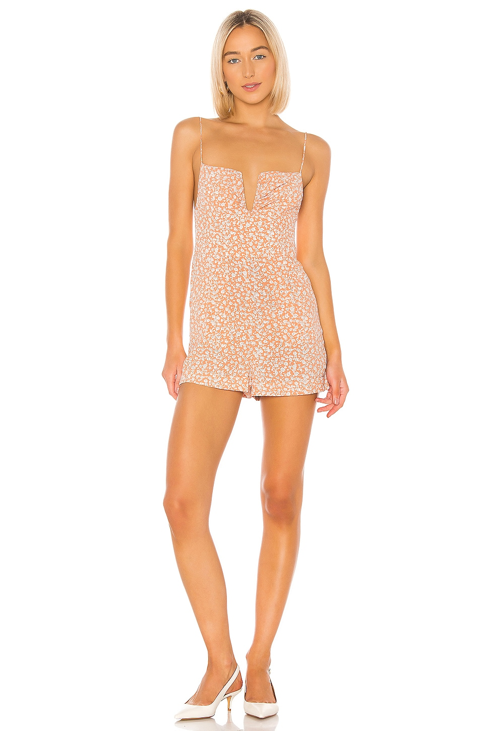 Sun Becomes Her Supernatural Diva Romper in Peach Ditsy Floral