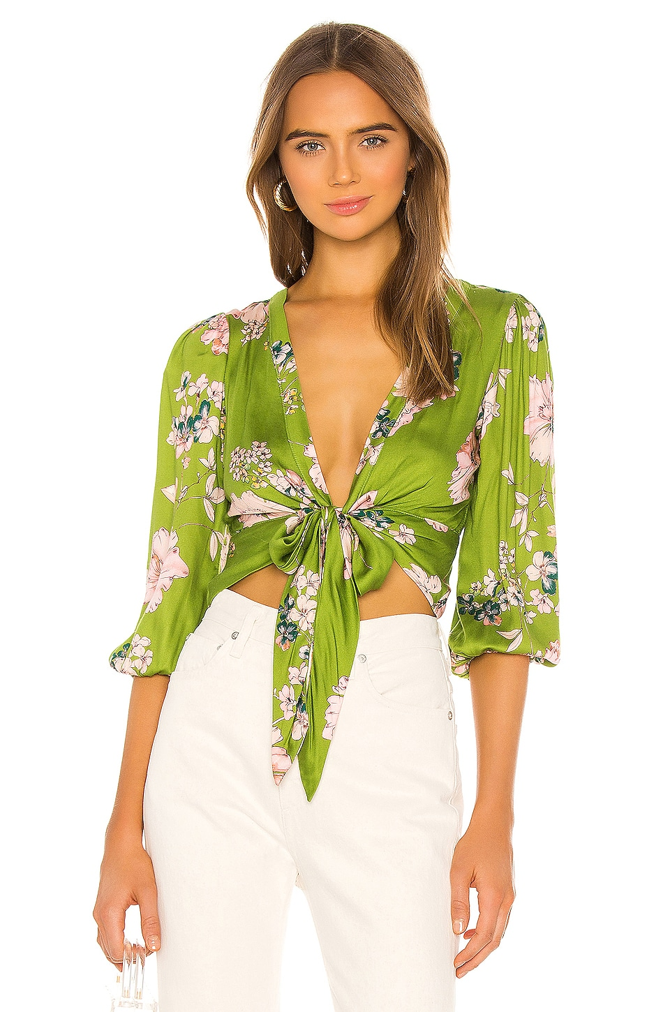 Sun Becomes Her Modern Kimono Top in Citrine Floral