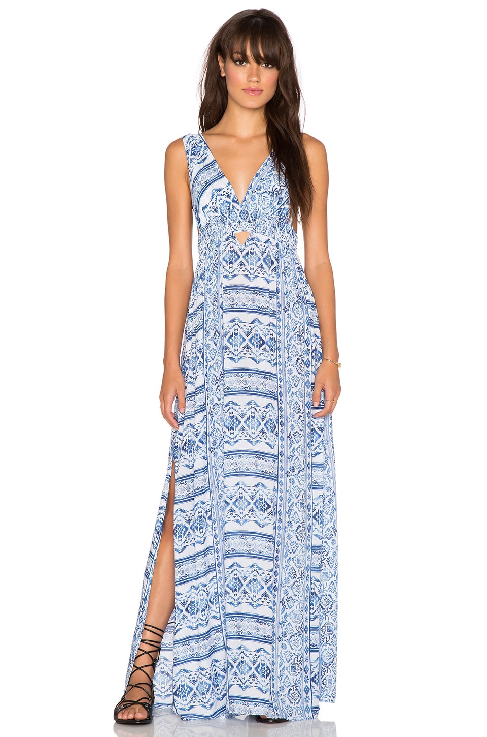 Surf Gypsy Tribal Print Cutout Maxi Dress in White Royal