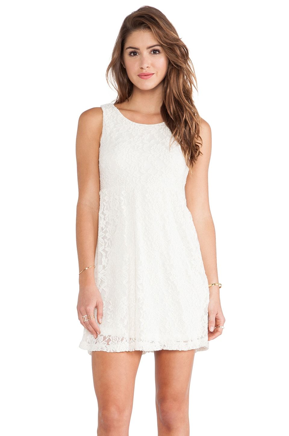 Surf Gypsy Ivory Lace Scoop Back Dress in Ivory