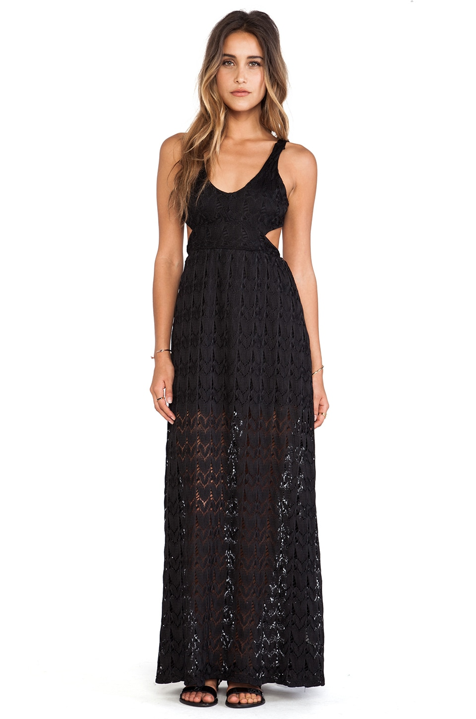 Surf Gypsy Crochet Open Back Maxi Dress in Black