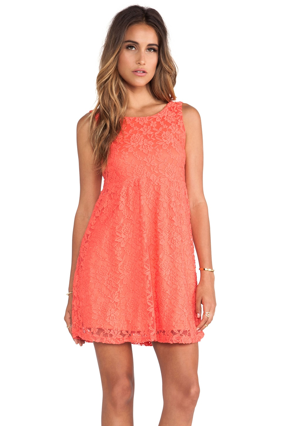 Surf Gypsy Coral Lace Scoop Back Dress in Coral