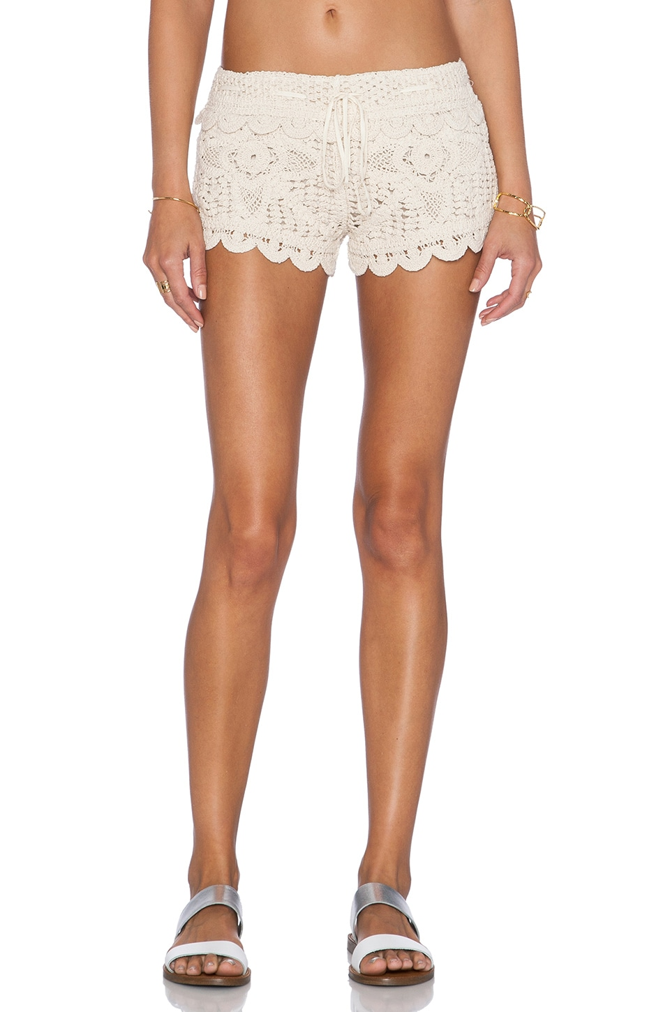 Surf Gypsy Crochet Cover Up Shorts In Tan Revolve