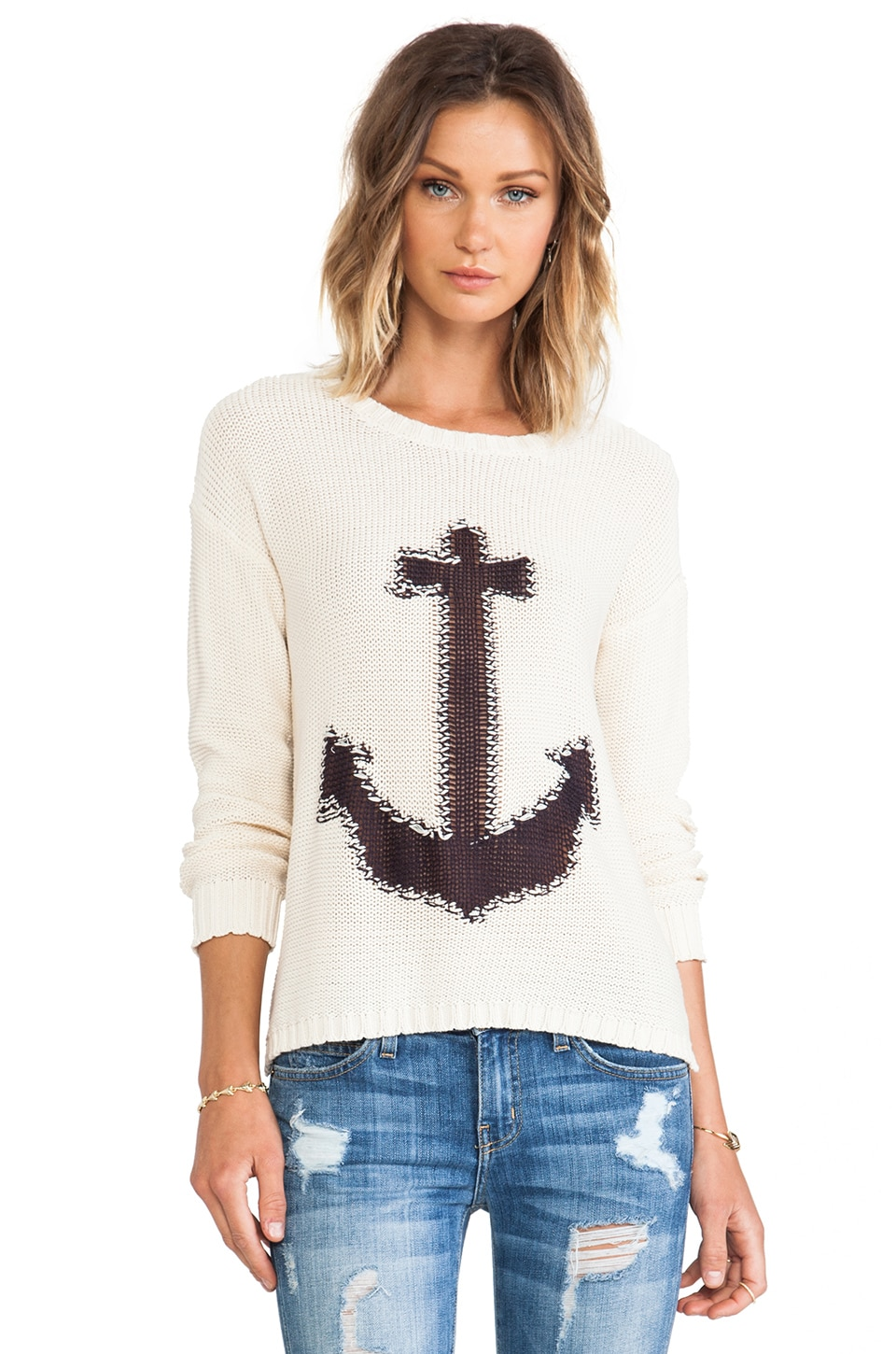 Surf Gypsy Anchor Sweater in Ivory & Navy