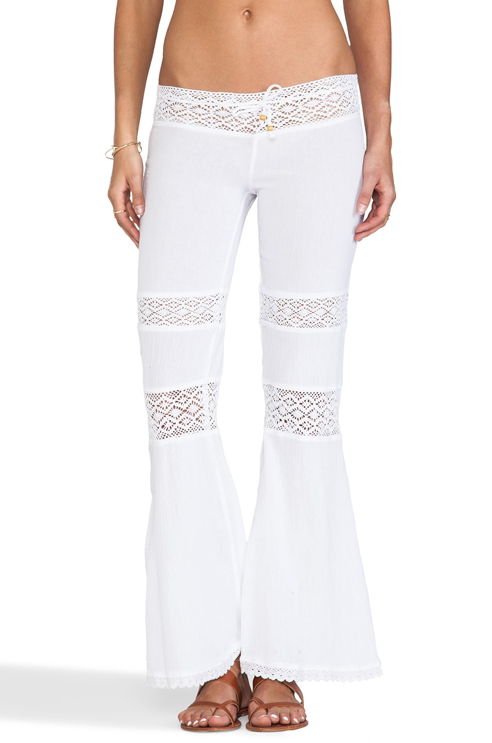 Surf Gypsy Crochet Gauze Pants in White