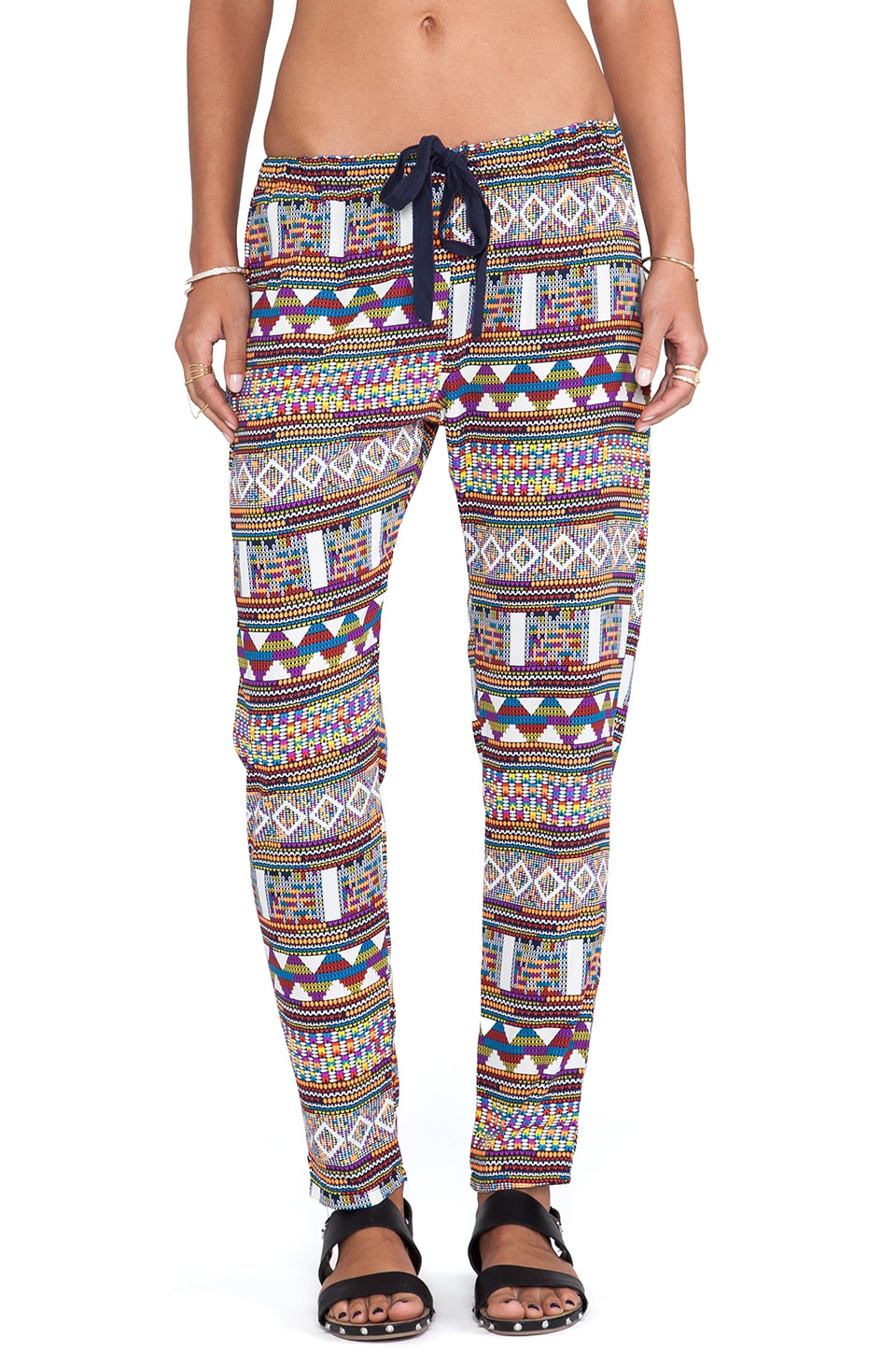 Surf Gypsy Tribal Print Pants in Orange & Navy