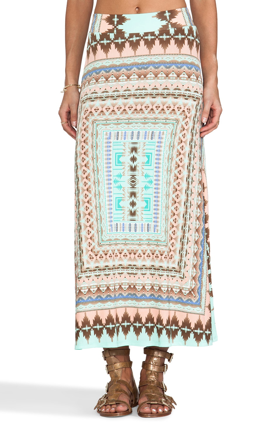 Surf Gypsy Maxi Skirt in Tribal Print