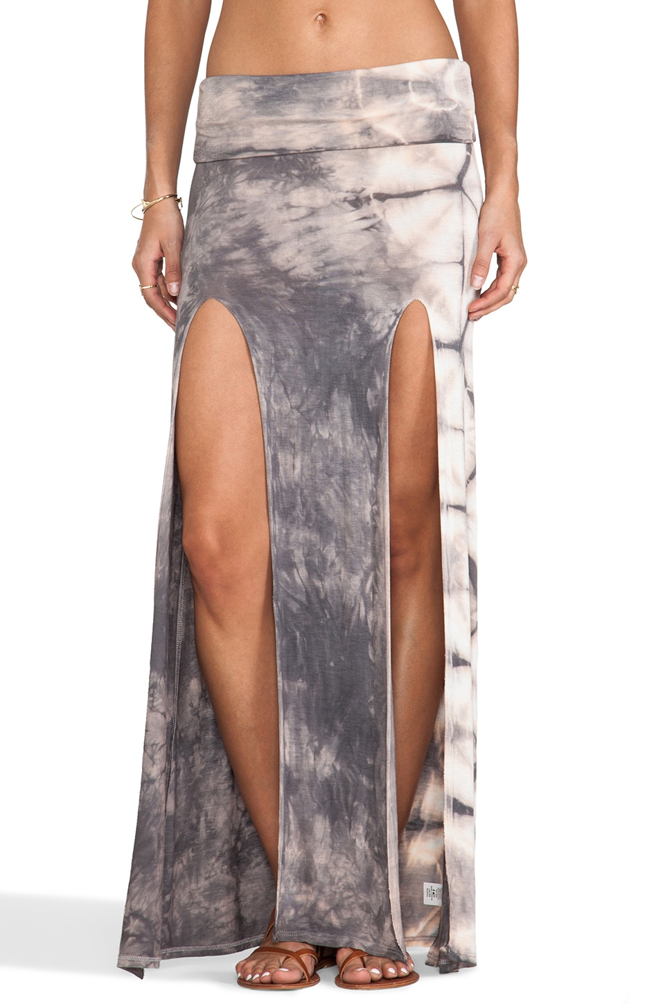 Surf Gypsy Tie Dye Slit Maxi Skirt in Grey