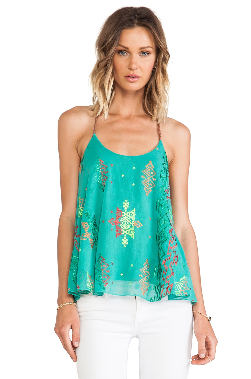 Surf Gypsy T Back Tank in Jade