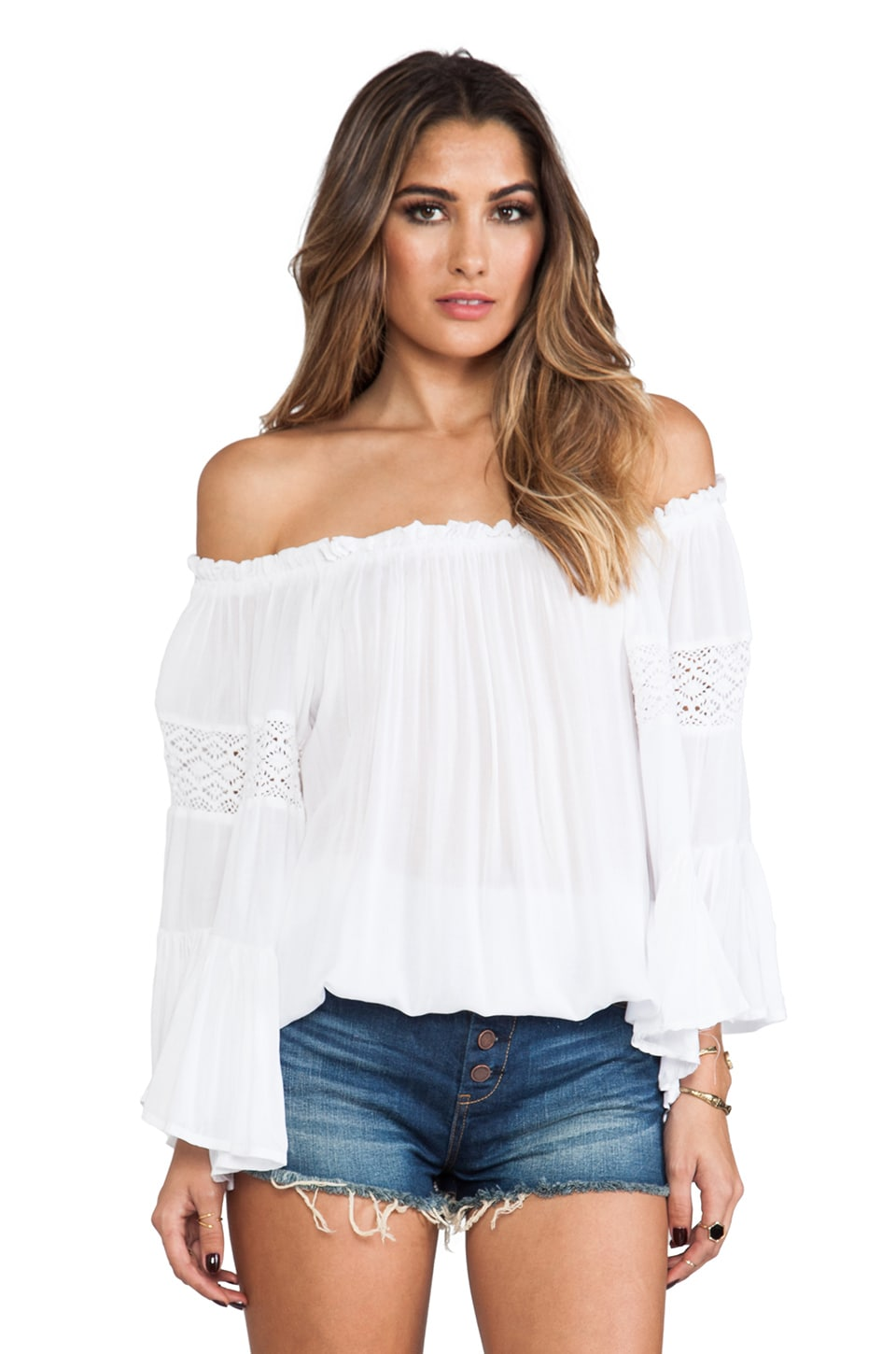 Surf Gypsy Crochet Sleeve Top in White