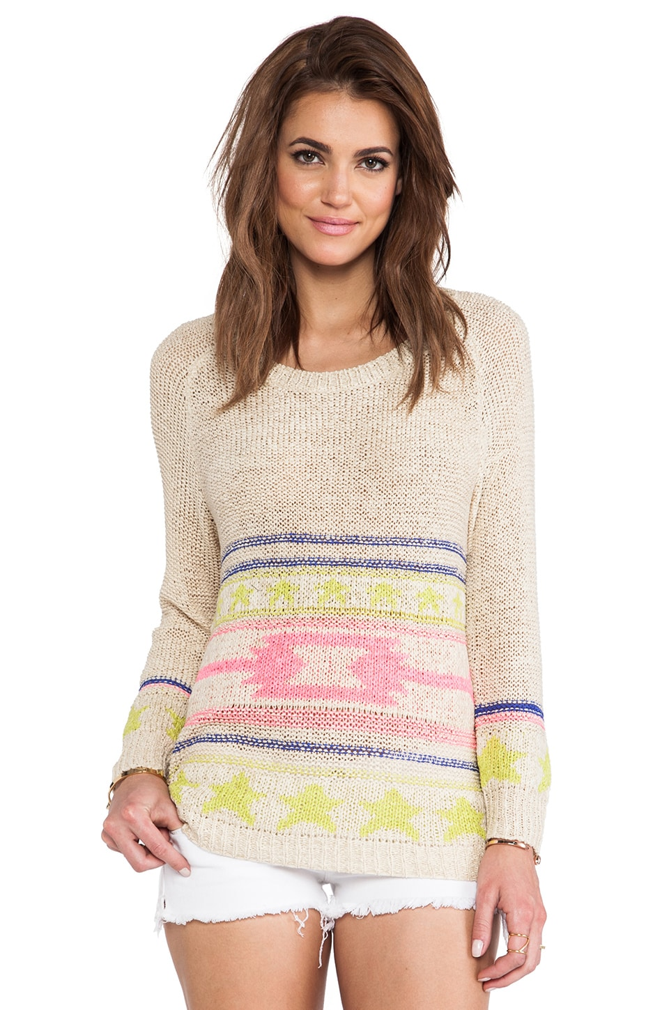 Surf Gypsy Printed Long Sleeve Top in Ivory & Multi