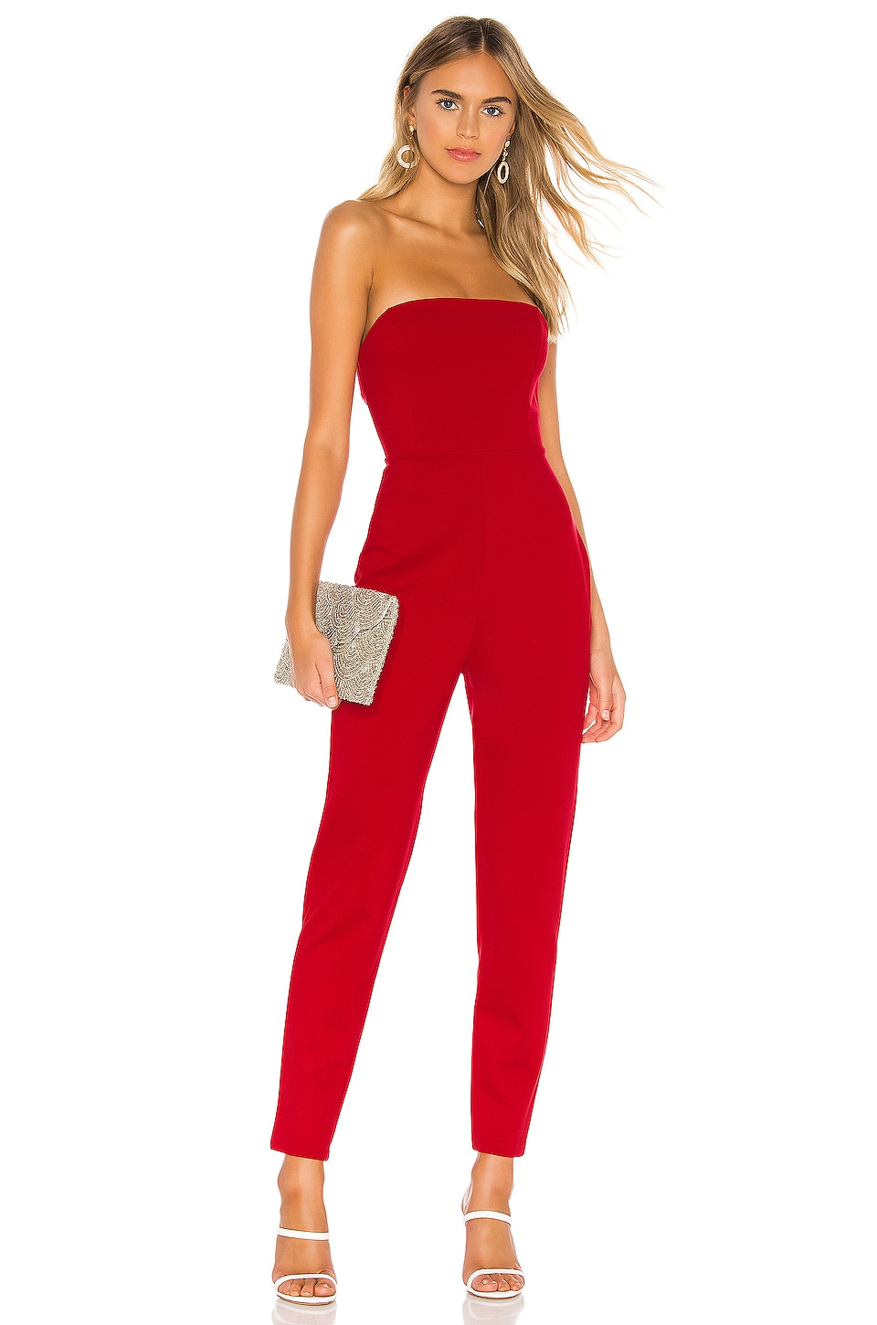 Susana Monaco Strap Back Tube Jumpsuit in Perfect Red