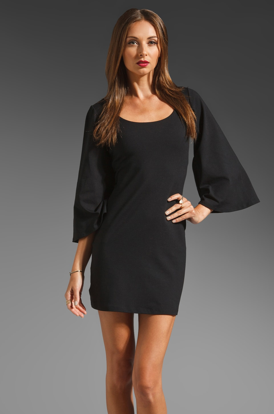 Susana Monaco Billow Sleeve Scoop Dress in Black
