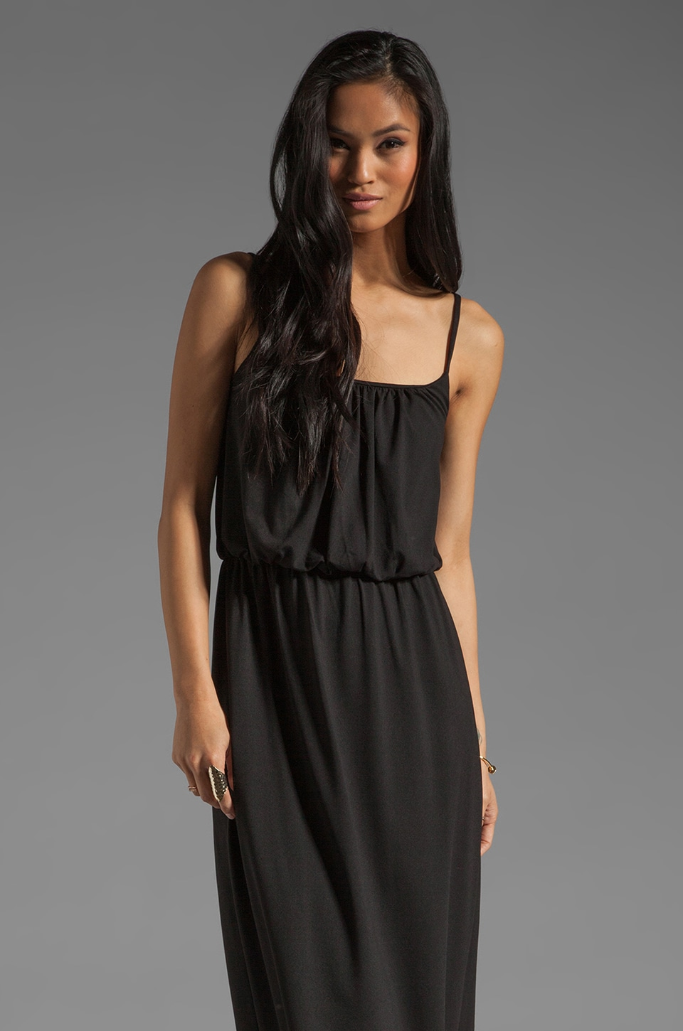 Susana Monaco Light Supplex Blouson Tank Dress in Black