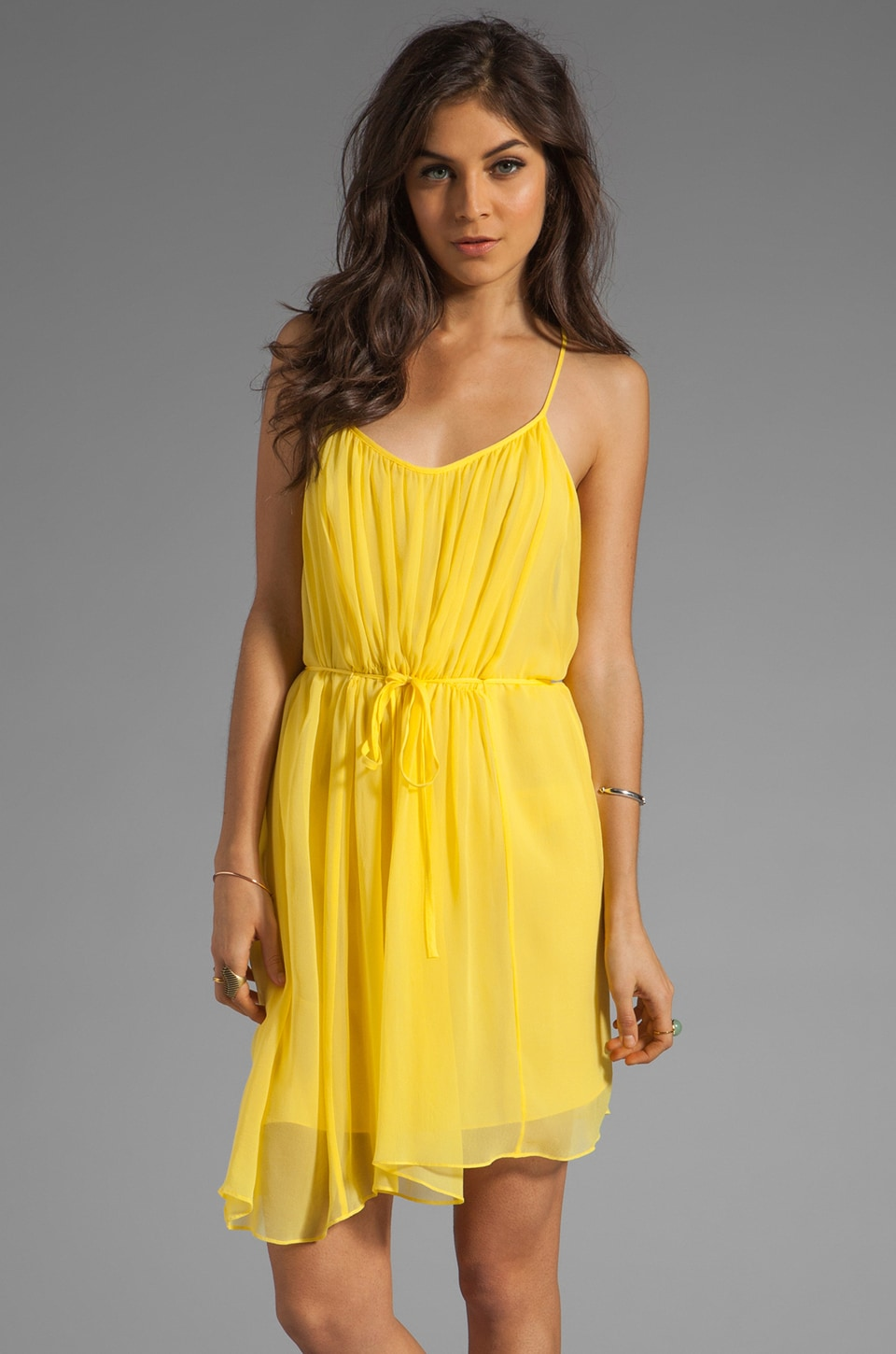 Susana Monaco Chiffon Anais Dress in Lemon Drop