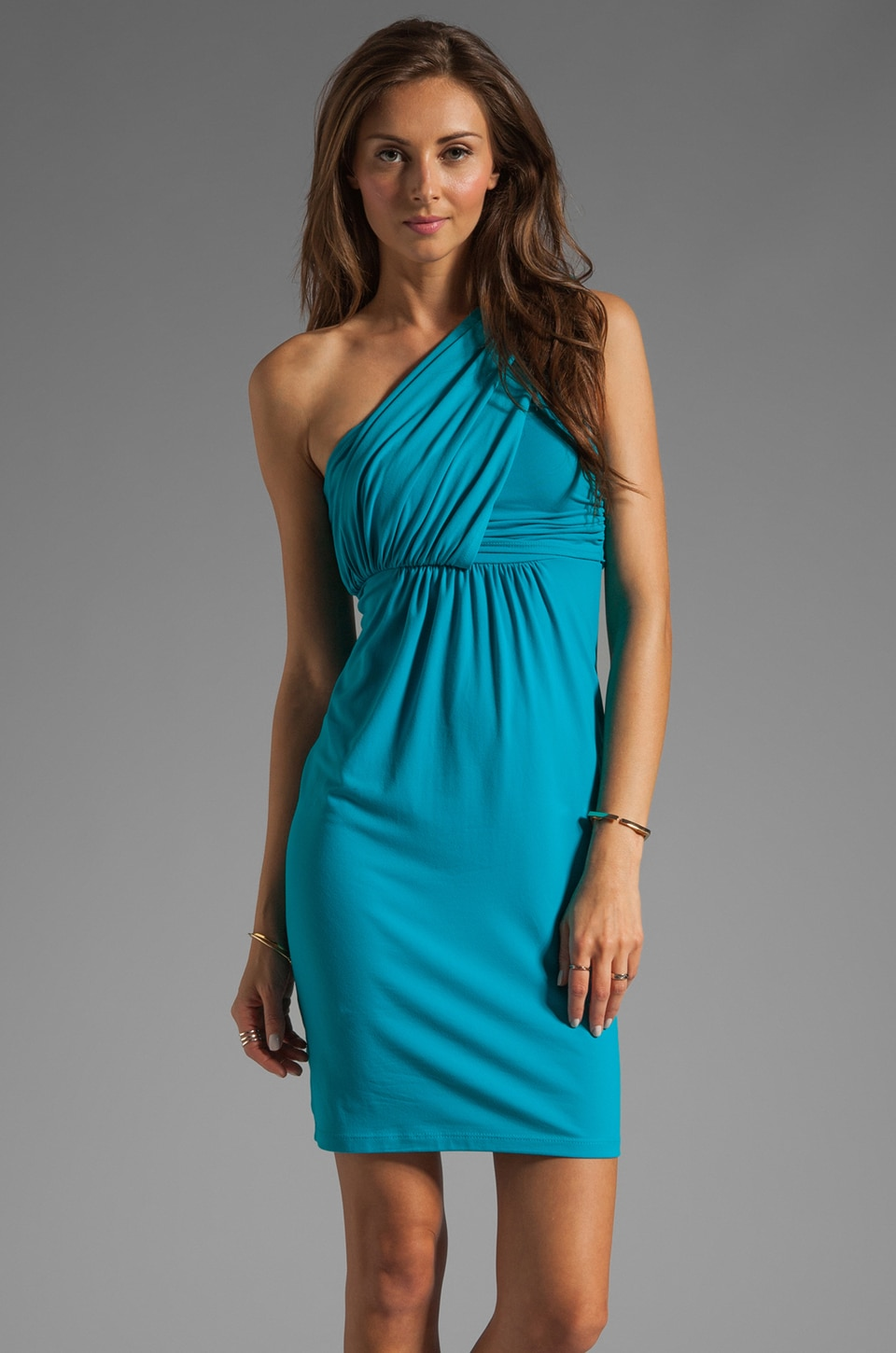 Susana Monaco Light Supplex Carrie One Shoulder Dress in Poseidon