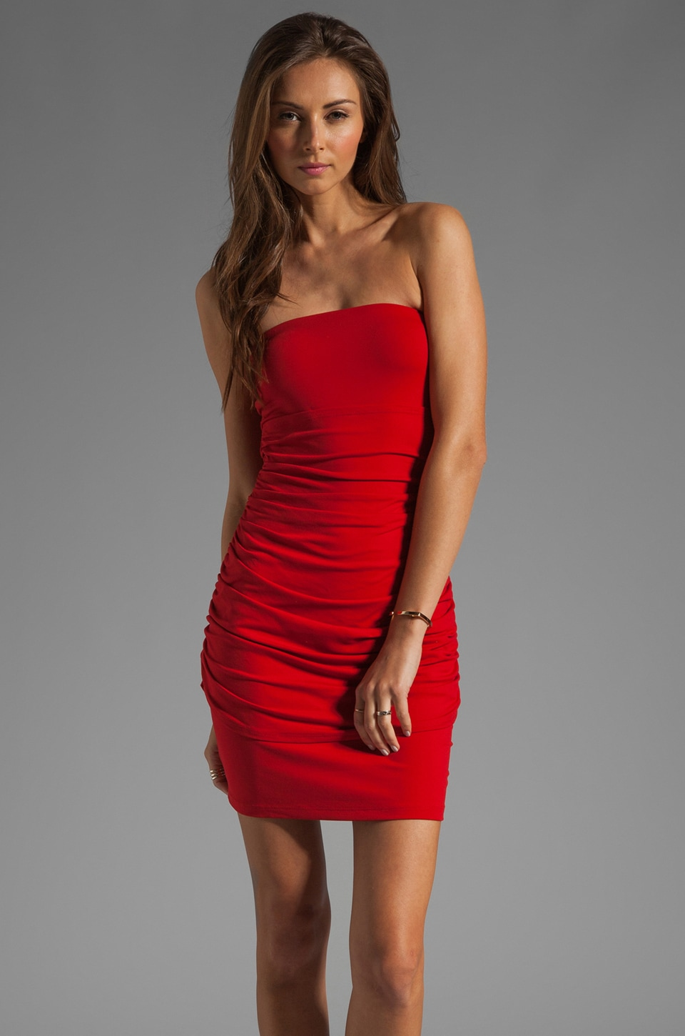 Susana Monaco Light Supplex Theo Strapless Dress in Pepper