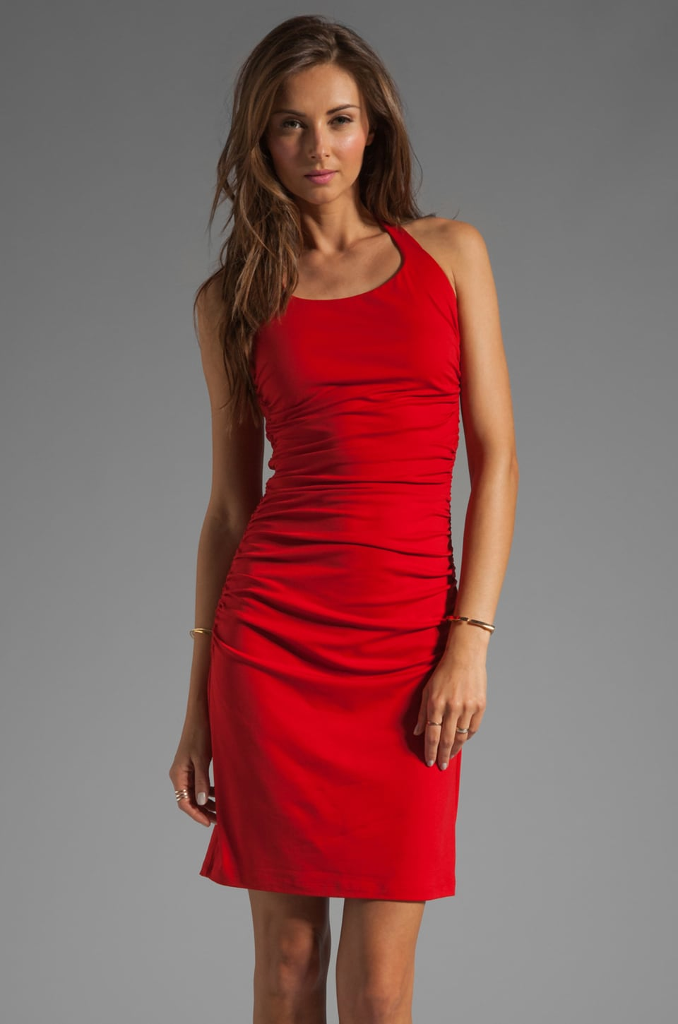 Susana Monaco Light Supplex Halter Drape Dress in Pepper