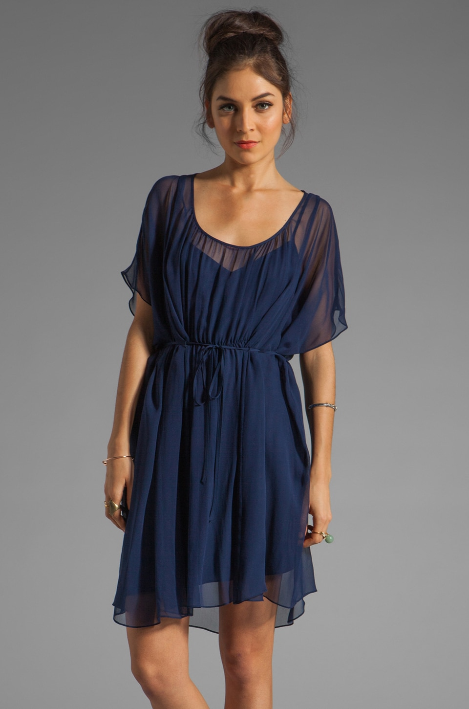 Susana Monaco Chiffon Elise Dress in Deep Sea