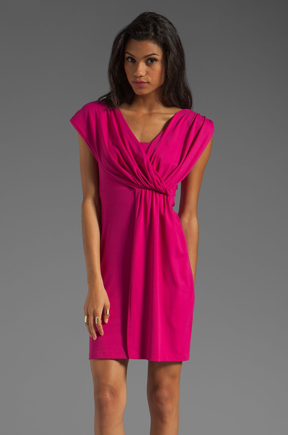Susana Monaco Light Supplex Asymmetric Drape Dress in Fuchsia
