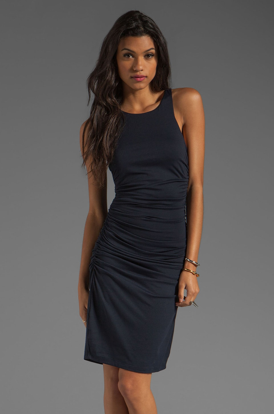 Susana Monaco Light Supplex Double Racer Tank Dress in Midnight