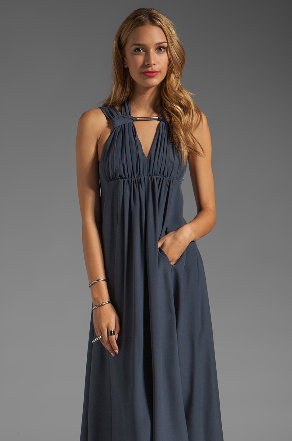 Susana Monaco Halter Tank Dress in Charcoal