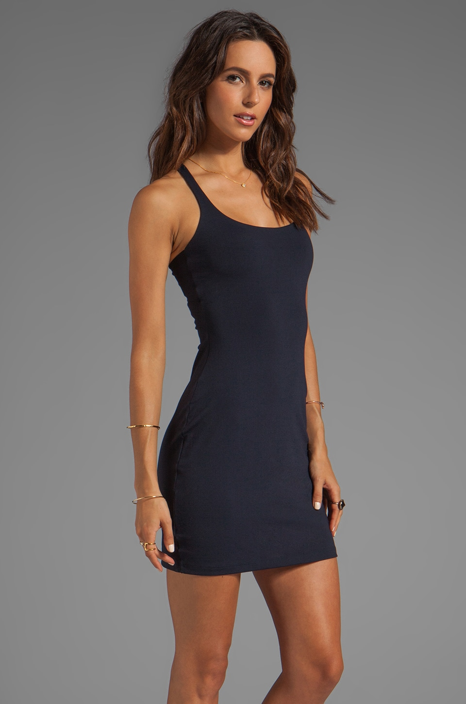 "Susana Monaco Racer Mini Dress 18"" in Midnight"